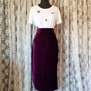 Vtg Dark Plum Velvet Pencil Skirt